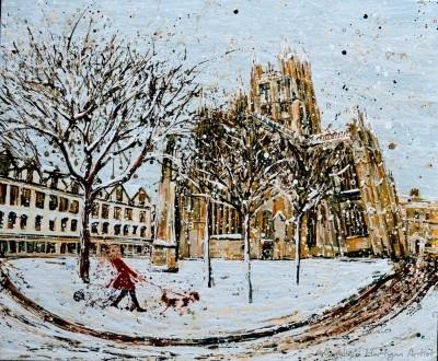 Angelique Hartigan Bath Abbey in the Snow