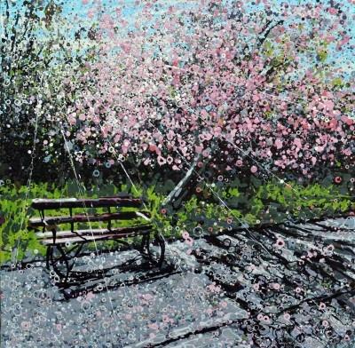 Angelique Hartigan Cherry Blossom and Bench Dulwich Park