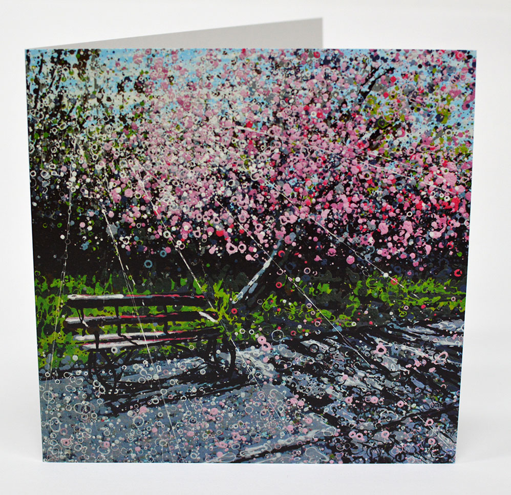 Greeting Cards Cherry Blossom and Bench Front