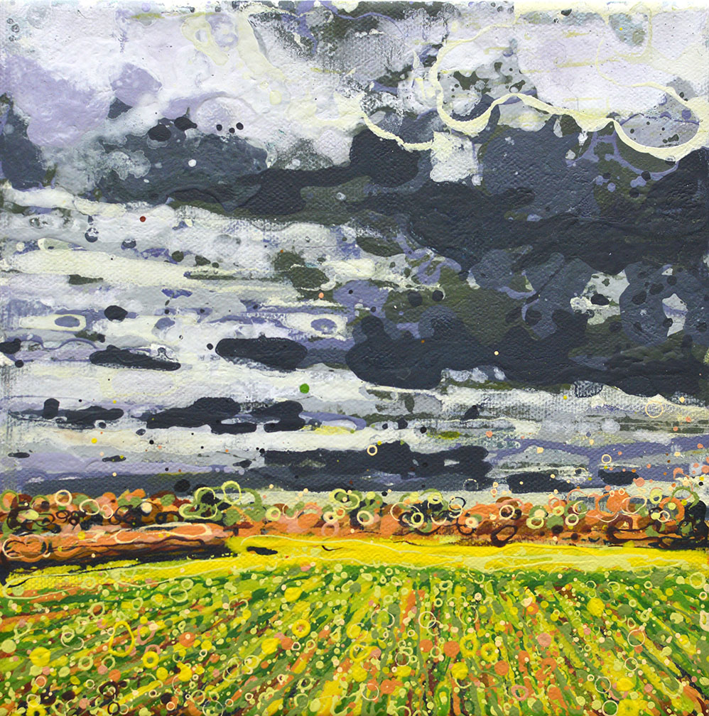 Painting by Angelique Hartigan Bruised Sky Over Chigborough Fields II
