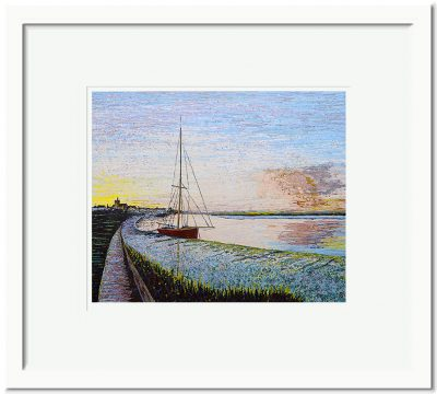 Open Edition – Signed and Numbered Small Collectors Print – Red Boat in the Sunset Maldon