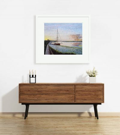 Signed, Limited edition giclee print – Red Boat in the Sunset, Maldon