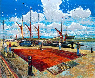 Paintings Thames Barges Maldon - Painting the Sails Hythe Quay Maldon