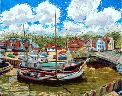 Fullbridge Quay Maldon painting - The Moorings Fullbridge Quay