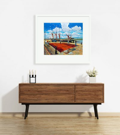 Signed, Limited edition giclee print – Painting the Sails Hythe Quay Maldon