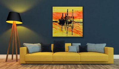 Fine Art Canvas Print Battersea at Sunset I
